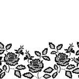 Czarna bezszwowa koronki granica z kwiatami na białym tle ilustracji