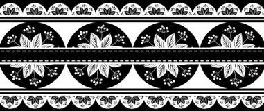 Czarna Białych kwiatów granica royalty ilustracja