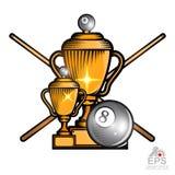 Czarna bilardowa piłka i krzyżować wskazówki z filiżankami na bielu Sporta logo dla jakaś mistrzostwa lub drużyny royalty ilustracja