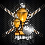 Czarna bilardowa piłka i krzyżować wskazówki z filiżankami Sporta logo dla jakaś drużyny ilustracji