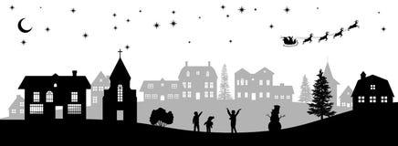 Czarna boże narodzenie panorama Sylwetki dzieciaki patrzeje Santas sanie Świętowanie scena Odosobniony wioska krajobraz royalty ilustracja