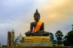 Czarna Buddha statuy postawa medytacja Obrazy Stock