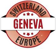 Czarna czerwona żółta round glansowana Geneva Szwajcaria odznaka ilustracji