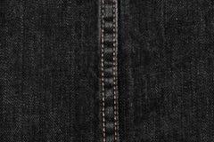 czarna drelichu i ściegów cajgów tekstura Obraz Stock