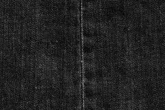 Czarna drelichu i ściegów cajgów tekstura dla graficznego projekta Obrazy Royalty Free