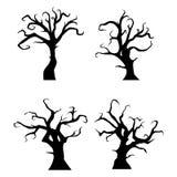 Czarna drzewo sylwetka na białym tle royalty ilustracja