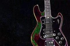 Czarna gitara, smyczkowa muzyka Fotografia Royalty Free