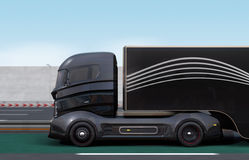 Czarna hybryd ciężarówka na autostradzie Obraz Royalty Free