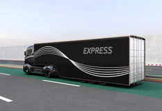 Czarna hybryd ciężarówka na autostradzie Zdjęcie Stock