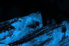 Czarna i błękitna ręka malująca tło tekstura z grunge muśnięcia uderzeniami obraz stock