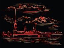 Czarna i czerwona wektorowa ręka rysuje ST Petersburg 6 ilustracja wektor