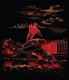 Czarna i czerwona wektorowa ręka rysuje ST Petersburg 3 ilustracja wektor