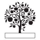 Czarna jabłoń z teksta pudełkiem Zdjęcia Royalty Free