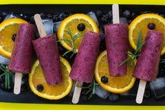 Czarna jagoda jogurtu lody popsicles Zdrowy deser homemade zdjęcia royalty free