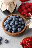 Czarna jagoda, malinki, redcurrant w pucharze i dżem w słoju, Fotografia Stock