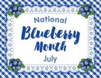 Czarna jagoda miesiąc, Koronkowa Doily miejsca mata, Błękitny Gingham royalty ilustracja