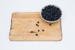 Czarna jagoda odizolowywająca w filiżance Zdjęcie Stock
