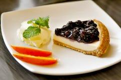 Czarna jagoda serowy kulebiak, czarnej jagody cheesecake Zdjęcia Stock