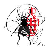 Czarna jeleń ściga z mechanizmem inside i granatem ilustracja wektor