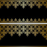 Czarna karta z złocistym rocznika ornamentem Zdjęcie Royalty Free