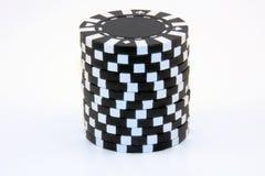 czarna kasyno żetonów sterta Obrazy Royalty Free