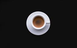 Czarna kawa, Biały tableware Zdjęcie Royalty Free