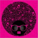 Czarna kierownicza kobieta z dziwacznym deseniowym włosy. ilustracja wektor