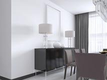 Czarna klatka piersiowa kreślarzi z metalem iść na piechotę z nocy lampami, wazami i obrazkiem nad, mocap plakat ilustracji