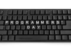 Czarna klawiatura na światła białego tle Inskrypcja na guzikach - programisty dzień zdjęcia stock