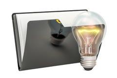 Czarna komputerowa skoroszytowa ikona z lightbulb, 3D rendering Fotografia Royalty Free