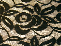 Czarna koronkowa tkanina Obrazy Royalty Free