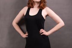 Czarna koszulka dla kobiet obrazy royalty free
