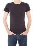 Czarna koszulka na mężczyzna na bielu Obrazy Royalty Free