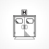 Czarna kreskowa ikona dla szpitalnego wejściowego drzwi Fotografia Stock