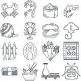 Czarna kreskowa ikony kolekcja denny jedzenie Obraz Stock