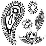 Czarna kreskowej sztuki kwiatu projekta ozdobna kolekcja Zdjęcie Royalty Free