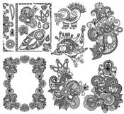 Czarna kreskowej sztuki kwiatu projekta ozdobna kolekcja, Fotografia Royalty Free