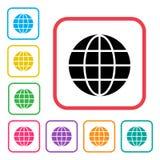 Czarna kuli ziemskiej ikona w czerwieni ramie Kolorowe ustalone dodatkowe wersji kuli ziemskiej ikony wektor ilustracja wektor