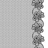 Czarna kwiat koronki granica Obraz Stock