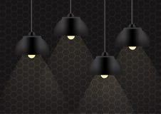Czarna lampa i oświetlenie na ściennej tło ilustraci Fotografia Royalty Free