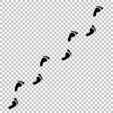 Czarna ludzka odcisk stopy ścieżka na przejrzystym tle ilustracji