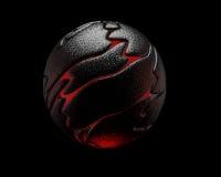 Czarna odbijająca sfera, czerwony wnętrze, 3D Fotografia Stock