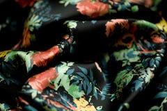 Czarna oferta barwił tkaninę, elegancja pluskoczący materiał Obrazy Royalty Free