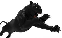 Czarna pantera odizolowywa na białym tle Fotografia Royalty Free