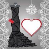 Czarna partyjna suknia, świecznik, etykietka, Paisley granica Fotografia Royalty Free