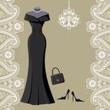 Czarna partyjna suknia z świecznikiem i Paisley graniczymy Zdjęcie Stock