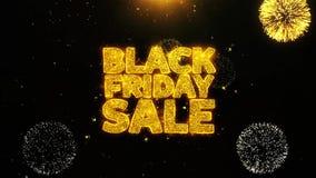Czarna Piątek sprzedaż życzy powitanie kartę, zaproszenie, świętowanie fajerwerk zapętlający