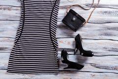 Czarna pięty suknia i buty Zdjęcie Stock