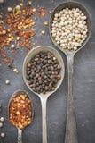 Czarna pieprzowa kukurudza, biała pieprzowa kukurudza i wysuszeni chili płatki w o, Zdjęcia Royalty Free