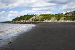 Czarna plaża, Lorneville, Nowy Brunswick w Atlantyckim Kanada, obrazy stock